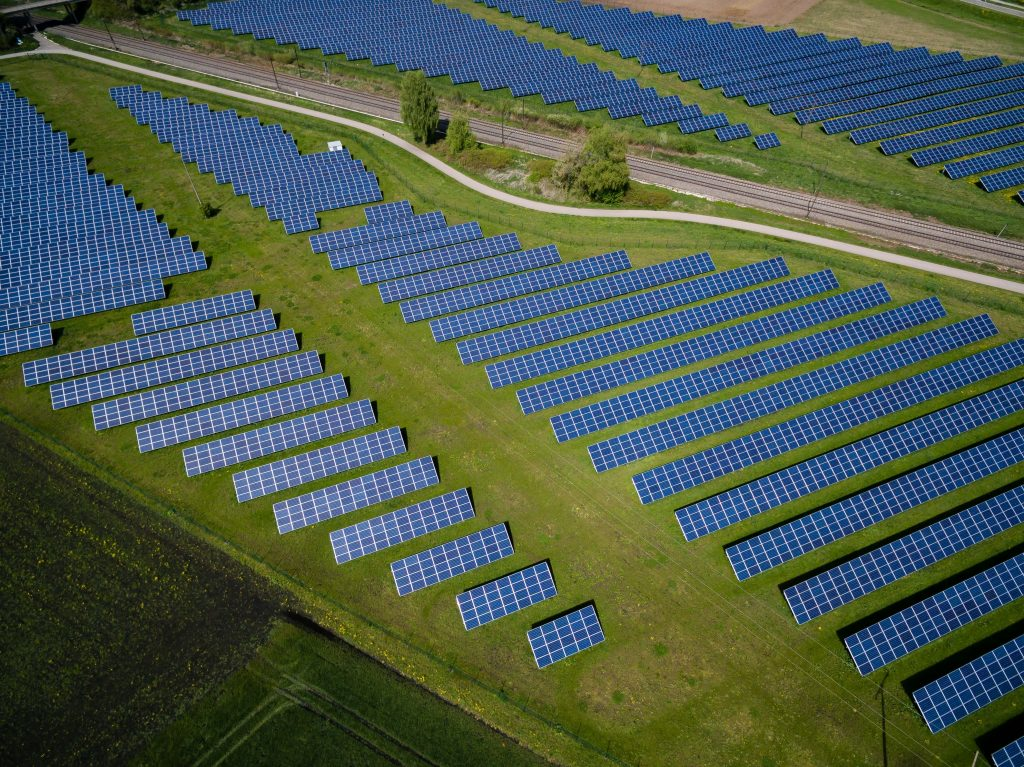 A solar panel farm used for generating and storing energy.