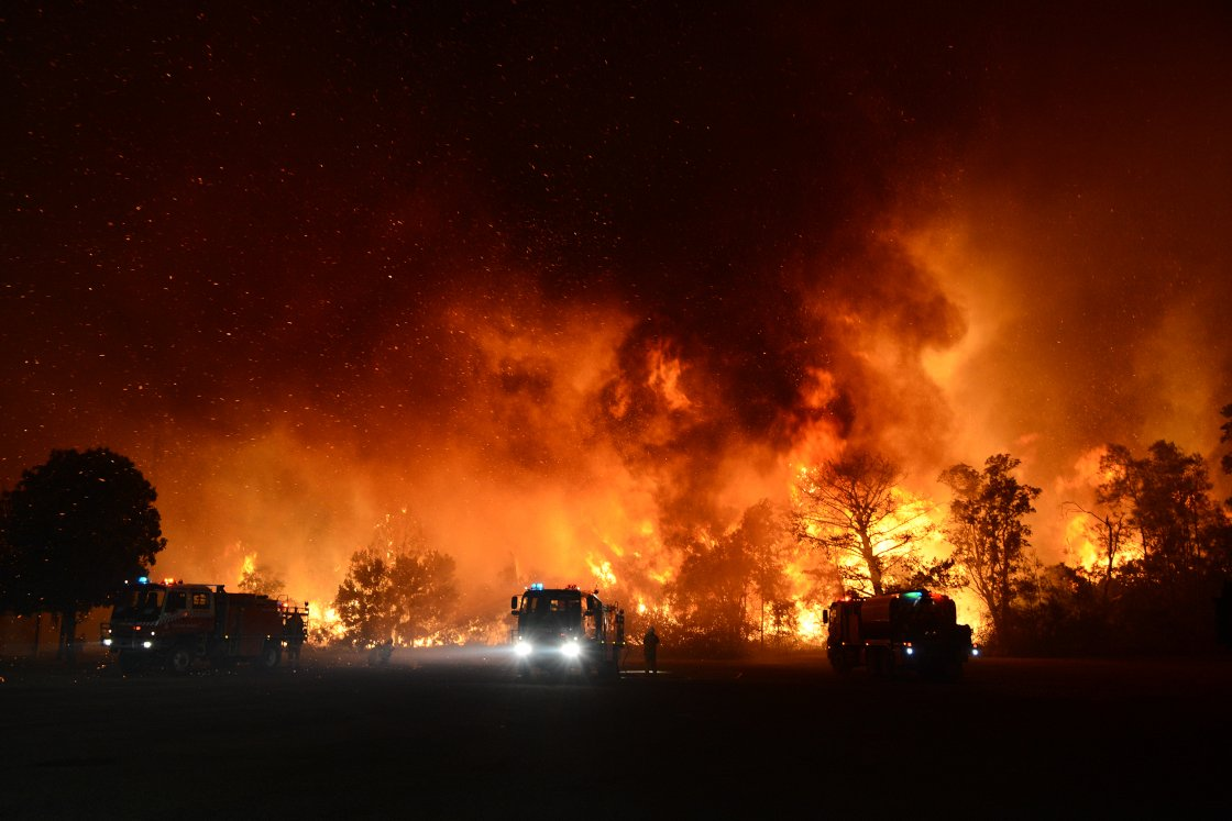 The Australian bush fires that caused huge damange to power infrastructure.