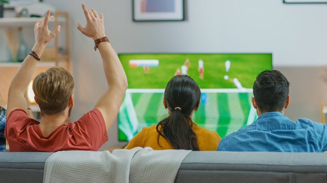 Soccer fans watching the game on Foxtel.